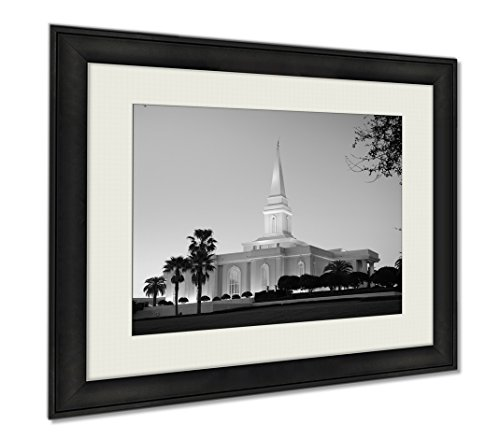 Ashley Framed Prints Orlando Temple Of The Church Of Jesus Christ Of Latterday Saints At Dusk, Wall Art Home Decoration, Black/White, 34x40 (frame size), AG6481291 by Ashley Framed Prints