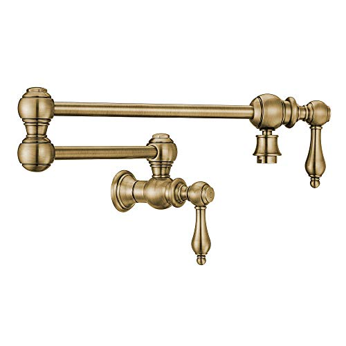 (Whitehaus WHKPFLV3-9550-NT-AB Vintage III + Kitchen Pot Filler, Antique Brass)