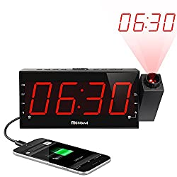 Mesqool AM/FM Digital Dimmable Projection Alarm Clock Radio with 1.8 LED Display,USB Charging,Dual Alarm,Battery Backup