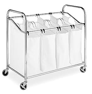 Whitmor 4-Section Laundry Sorter Chrome & White with Wheels