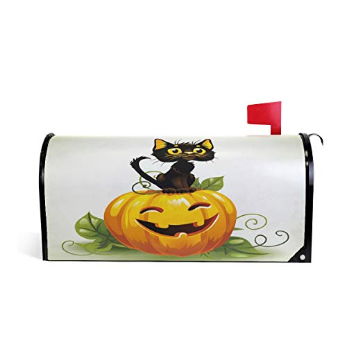 Wamika Pumpkin Black Cat Letter Magnetic Mailbox Cover Post Halloween Standard Oversized Home Garden Residence Yard Outdoor Decor ()