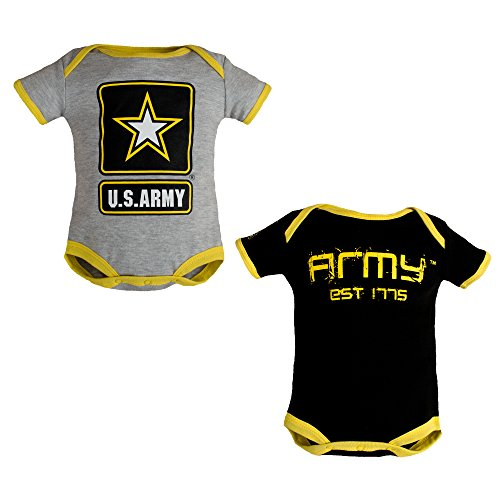 Army Baby Clothes - Tiny Trooper Baby 2 PK Army Logo Bodysuit Gray & Black (3-6 Months)