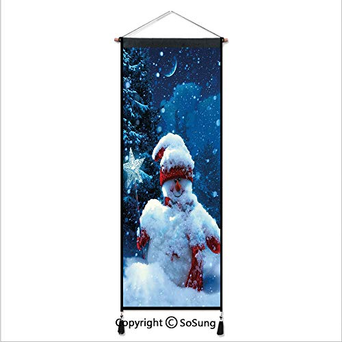 - Christmas Tapestry Wall Hanging,Snowman with Magic Wand and Fir Branches Covered with Snow Winter Night Decorative,Home Art Decor Beautiful Apartment Dorm Room Decoration,17.7