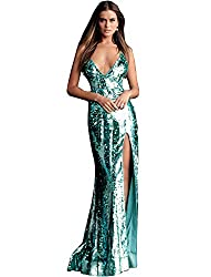 Aqua Sequin Spaghetti Straps V-Neck Dress