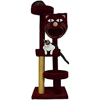 Molly and Friends MF-64-burg Four-Tier Scratching Post Furniture, Burgundy