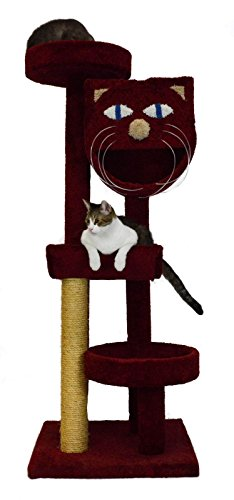 (Molly and Friends MF-64-burg Four-Tier Scratching Post Furniture, Burgundy )