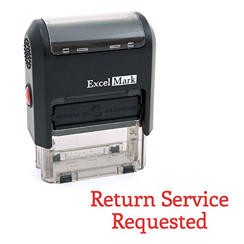 RETURN SERVICE REQUESTED Self Inking Rubber Stamp - Red Ink (ExcelMark A1539) -
