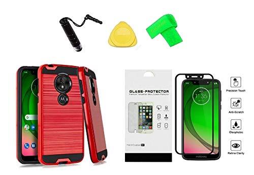 for Motorola G7 Optimo XT1952DL Slim Metallic Hybrid Cover Phone Case + Tempered Glass Protector + Extreme Band + Stylus Pen + Pry Tool (Red)
