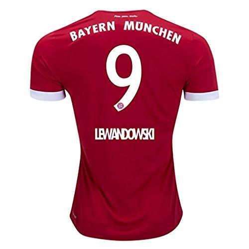 Tainky New Season Bayern Munich Home Lewandowski #9 2017-2018 Soccer Jersey for Men Color Red Size L (Bayern Munchen Soccer)