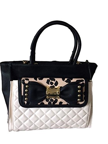 Betsey Johnson Bag In Bag Quilted Faux Leather Convertible Cheetah Studded Bow Pouch Satchel Shoulder Bag (Convertible Front Bow)