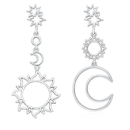 Wowanoo Bohemian Asymmetrical Dangling Earrings Beach Hollow Earrings Drop Statement Earrings Jewelry for Women Silvers