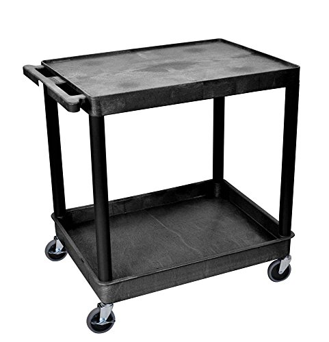 Offex Black Mobile Large Flat Top and Tub 2 Shelf Plastic Storage Utility Cart with Push Handle and 4 Casters OF-TC21-B