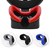 AMVR VR Silicone Protective Facial Cover & VR Lens Pad for Oculus Rift S Headset Sweatproof Waterproof Anti-Dirty Replacement Face Pads Accessories (Red)