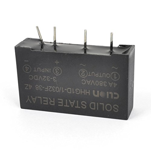 uxcell HHG1D-1/032F-38 4 Pin PCB Mount SSR Solid State Relay Black Temperature Controller