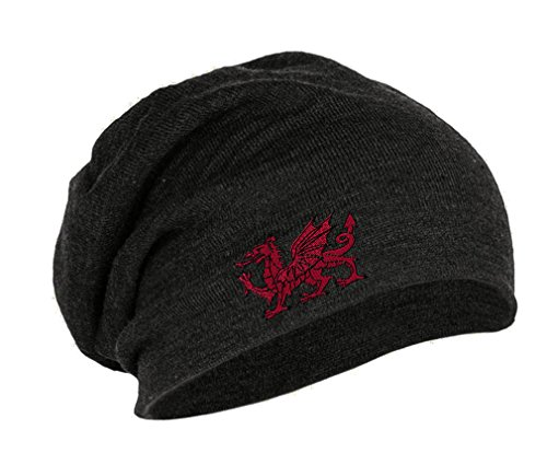 Dragon Knit Beanie (Wales Flag Dragon Seal Embroidery Embroidered Slouch Long Beanie Skully Hat Cap Dark Gray)