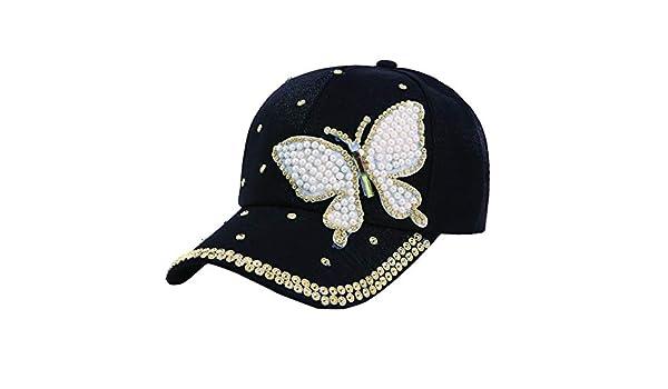 Gysad Patrón de Mariposa Gorras Planas Perla de imitación Sombrero ...