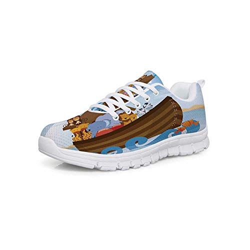 YOLIYANA Noahs Ark Lightweight Walking Shoes,Different Wild Animals on  Noahs Ark Boat Cheerful Story with Characters Fun Sneakers for Girls  Womens,US
