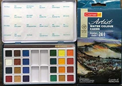 Camlin Kokuyo Camel Artist Water Colour Cakes With 24 Assorted