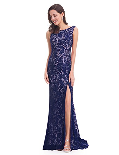 Ever-Pretty Womens Long Lace Military Ball Gown 8 US Navy Blue