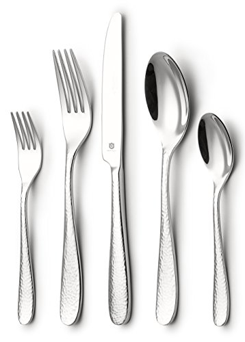 DANIALLI 30-Piece Flatware Set For 6, Modern Hammered Design Silverware Set, 18 10 Stainless Steel Utensils, Include Knife/Fork/Spoon, Mirror Polished Set of Cutlery, Dishwasher Safe by DANIALLI