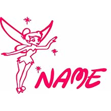 """Tinker Bell Fairy 14"""" Pink Custom With Your Name Car Truck VINYL Decal Art Wall Sticker USA"""