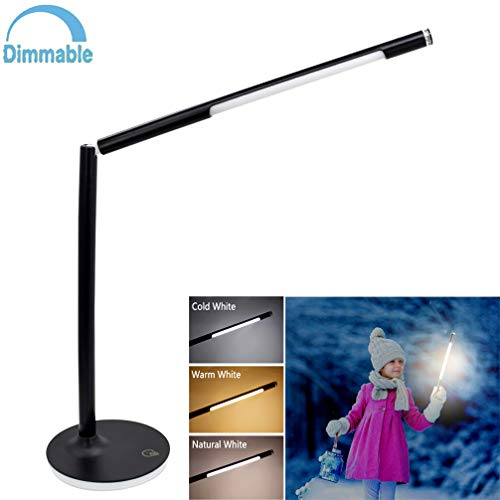 W-LITE LED USB Dimmable Table Lamp Black 5W Eye-Caring Removable Stand Desk Lamp, Battery Desk Light, Touch Control Night Light, 360 Degrees Adjustable, Cable 5 Modes & 7 Brightness Levels