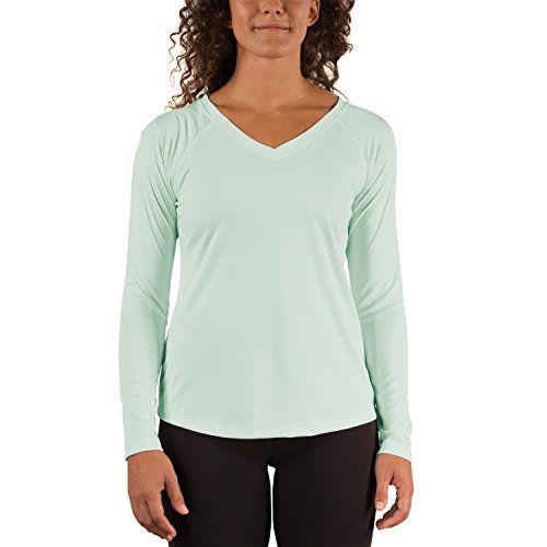 Seagrass Apparel - Vapor Apparel Women's V-Neck UPF 50+ Sun Protection Performance Long Sleeve T-Shirt Large Seagrass