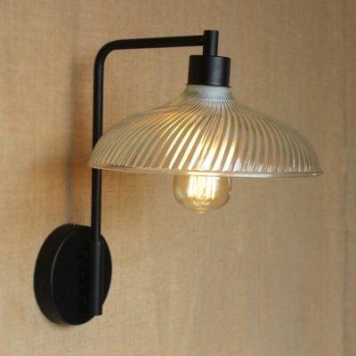 hua Ribbed Glass Bowl Shape 1 Light Wall Sconce in Black Finish - Ribbed Glass Bowl Light