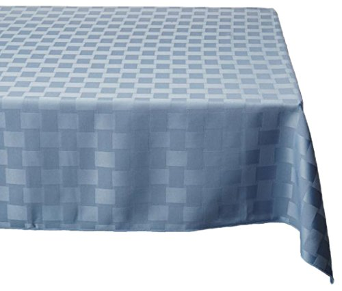 Bardwil Reflections Spill Proof Oblong / Rectangle Tablecloth, 60-Inch x 84-Inch, Stone (4 Piece Blue Table Napkins)
