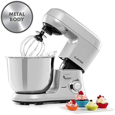 Klarstein Bella Robusta Metal - robot de cocina, carcasa de fundida a presión, cuenco de acero de 5,5 litros, función pulse, 1200 W en 6 niveles, gancho de amasar y remover, varillas, no salpica, gris