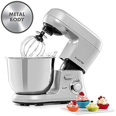 Klarstein Bella Robusta Metal - robot de cocina, carcasa de fundida a presión, cuenco de acero de 5,5 litros, función pulse, 1200 W en 6 niveles, gancho de amasar y remover, varillas,