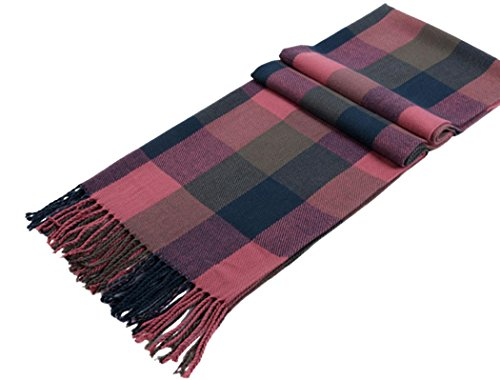 Veenajo Womens Long Shawl Big Grid Plaid Winter Warm Lattice Scarf for Fashion Wear