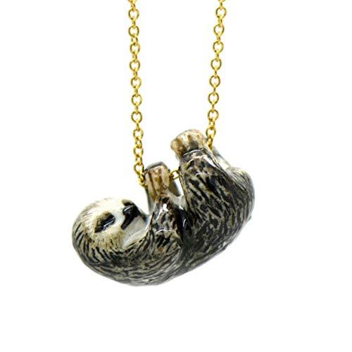 (CampHollow Sloth Hand Painted Porcelain Necklace Ceramic Animal Necklace Pendant)
