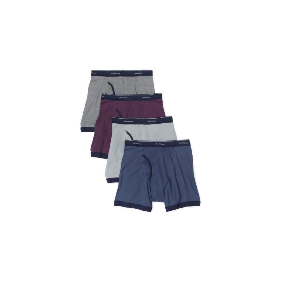 Fruit of the Loom Mens  Low Rise Ringer Boxer Brief, Assorted, Large(Pack of 4)