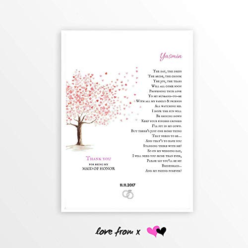 Wedding Tree Print For Best Friend | THANK YOU For Being My Bridesmaid Gift | Personalized Poem Gift | LFBM9