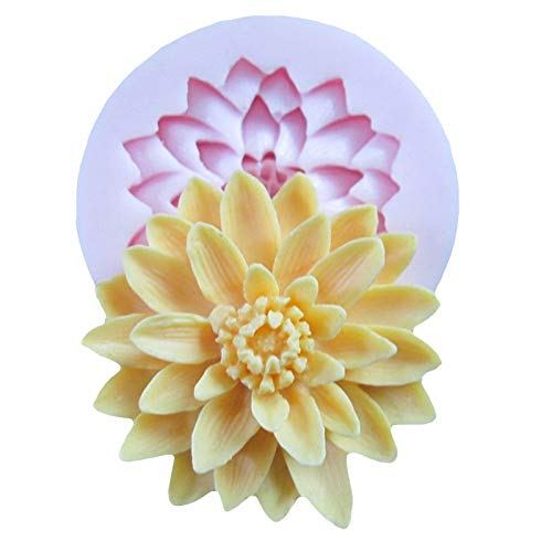 (Best Quality - Soap Molds - Beautiful Lotus Chrysanthemum Flower Silicone Soap Moulds for Fondant Cake Decorating Tools DIY Baking Chocolate Soap Mold - by BLUESKYUP - 1 PCs)
