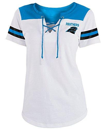 - New Era Carolina Panthers Women's Sleeve Striped Lace-Up T-shirt X-Large