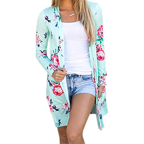 YoungG-3D Summer Coat Woman Kimono Jacket Floral Cardigans Jackets Long Sleeve Loose Coat Tops Tee Tunic WS1105 Blue XXL
