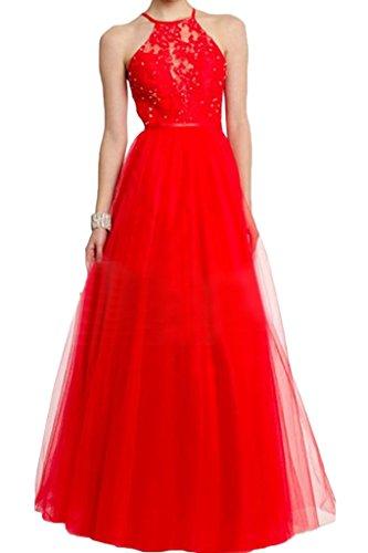 Beliebt Damen Lang Festkleid Neckholder Promkleid Ivydressing Rot Abendkleid Partykleid Spitze Linie A amp;Tuell Sq5xvvwU6n
