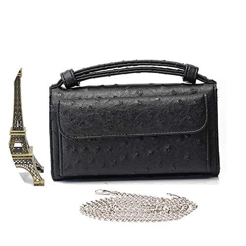 (Women Messenger Bags Crocodile Python Pattern Patent Handbag Long Wallet Envelope Clutch Bag for Woman,Ostrich Black)