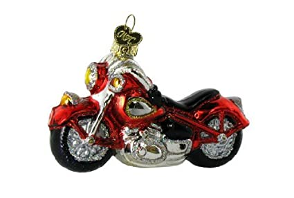 Amazon.com: Old World Christmas Ornaments: Motorcycle Glass Blown ...