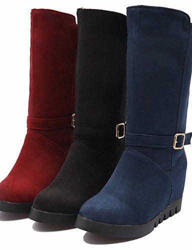 Cuña us6 Moda Dark Redonda Zapatos Botas Eu39 Vellón Cuñas Mujer A Cn36 Punta Rojo Marino Cn39 Negro Vestido Azul De Eu36 Uk4 Blue Uk6 Casual Tacón us8 Blue La Xzz wIHxPF0x