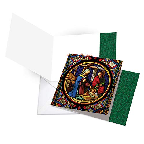 - Box Set of 12 'A Star Is Born' Christmas Card Featuring Glorious Images of the Nativity Recorded on Stained Glass, with Envelopes CQ6127BXSG-B12x1