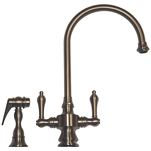 Whitehaus WHKSDLV3-8101-BN Whksdlv3-8101-Bnvintage Iii Dual Handle Faucet with Long Gooseneck Swivel Spout, Lever Handles & Solid Brass Side Spray, Brushed Nickel (Whitehaus Faucet)