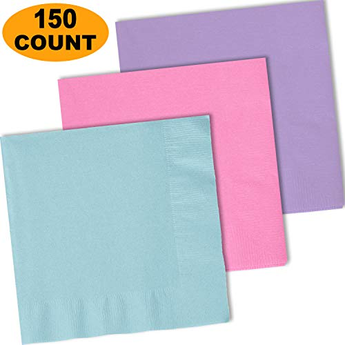 150 Lunch Napkins, Lavender, Pastel Blue, Candy Pink - 50 Each Color. 2 Ply Paper Dinner Napkins. 6.5