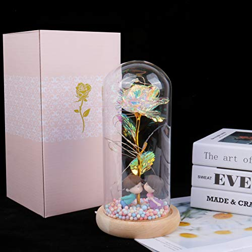 Artificial Colorful Flower Rose Gift Led Galaxy Rose in Glass Present for Mother Valentine Day (Colorful-kiss)