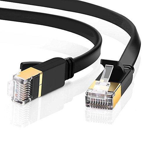 Cable Ethernet Cat7, 5M Cable de Red con Conector RJ45 (10 Gigabit, 600MHZ, Lan Cable Blindado) para Módem, Enrutador, PC,...