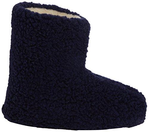 Woolsies Yeti Natural Wool Slipper Booties - Zapatillas de casa unisex Azul (Navy Blue)