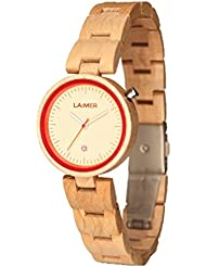 LAiMER Womens Wooden Watch NICKY RED - Wrist Watch made of natural Maple Wood - Stylish Fashion Piece for every...