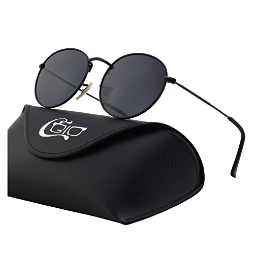 CGID E47 Retro Vintage Style Lennon Inspired Round Metal Circle Polarized - Black Circle Sunglasses